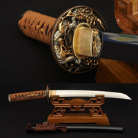 Clay tempered 1095 Carbon Steel Samurai Japanese Tanto Dragon Sword Very Sharp Blade Traditional Hand Forged Can Cut Bamboos
