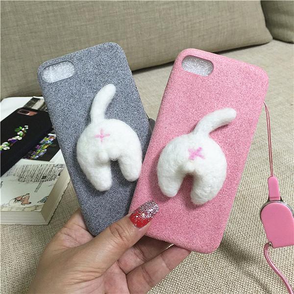 Corgi case handmake igły filcu wełnianego słodkie cat dog tyłek tyłek pokrywa dla apple iphone 6 6s plus iphone 7 7 p miękkie telefon komórkowy case 19