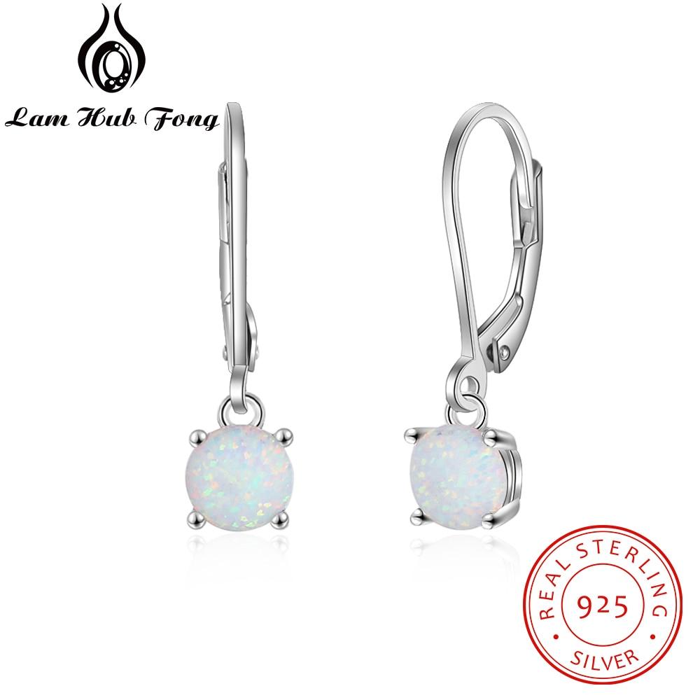 925 Sterling Silver Hoop Earrings For Women Charm Created Round White Fire Opal Earrings Trendy Fine Jewelry (Lam Hub Fong)