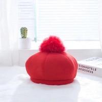 Doitbest 2-5 лет дети осень зима Берет шапки Детские hairball bobble hat шерстяные береты мальчики девочки головной убор в французском стиле