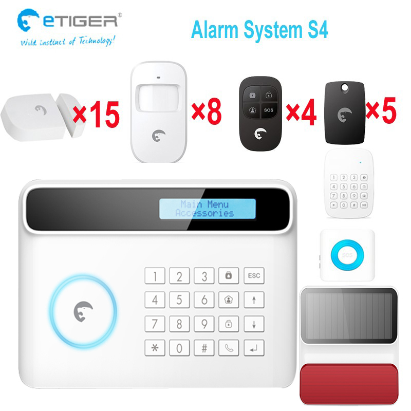 Etiger S4 security system GSM sim card alarm system with solar alarm siren for big house intruder alarm