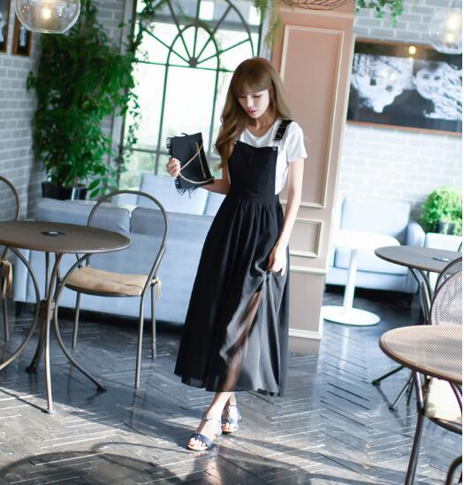 Free Hot Sale O-neck Ankle-length Shipingeurope And The 2019 Summer Girl Sweet New Fashion Strap Dress Women's Chiffon Suit 3