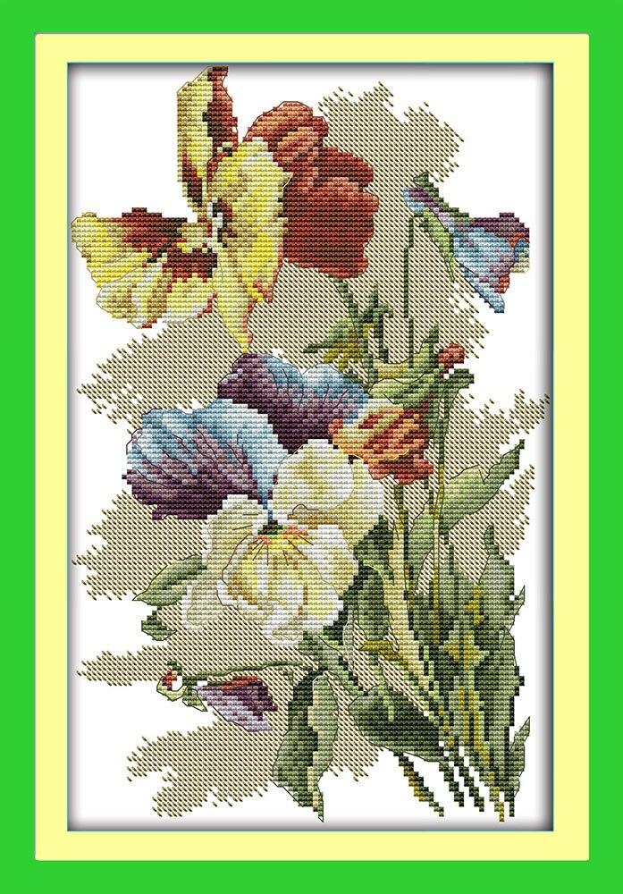 Joy Sunday Flower Style Pansy Beaded Embroidery Pattern