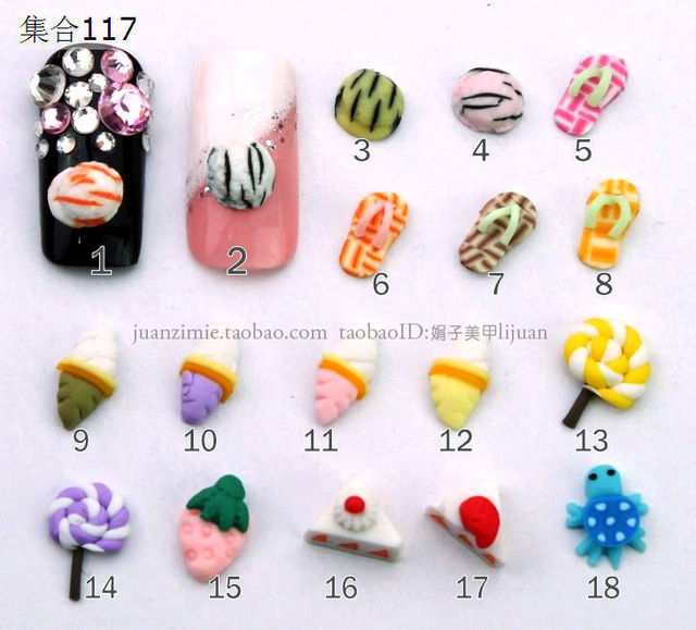 5 nail art accessories diy material finger stickers polymer clay cartoon sz117 -