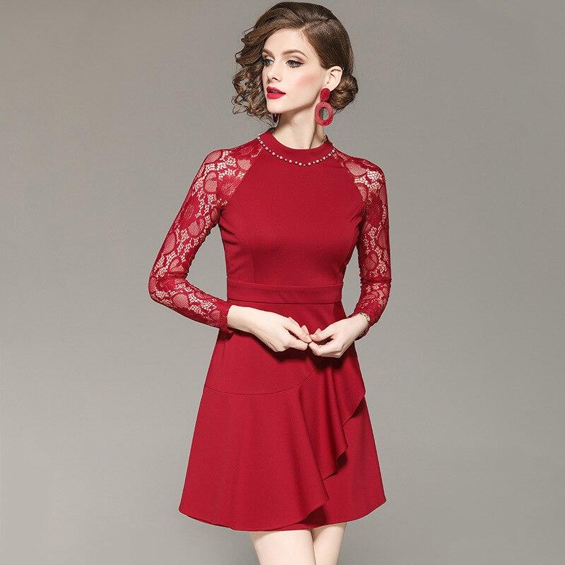 Las Vestido Verano Plus Fiesta Mini Sexy Damas Red Primavera Encaje De Club Los Mujeres Tamaño Para Ríos Con 2019 Del wSXYxqq