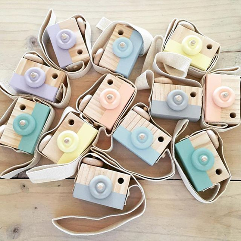 Wooden Camera Baby Kids Hanging Camera Photography Prop Decoration Children Educational Toy  Natural Wood Toys-15
