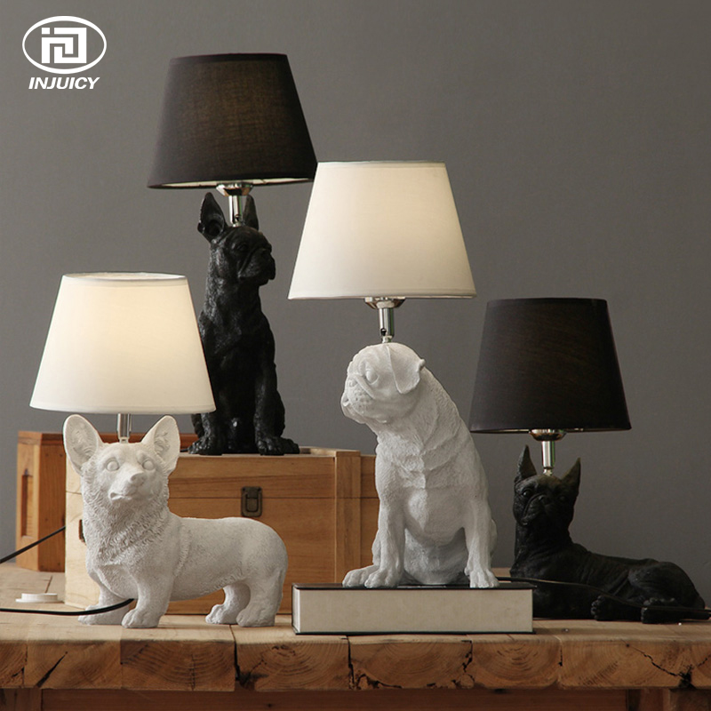 LOFT Vintage Resin Pet Dog Table Lights Retro Dog Art Lamp Bedroom Bedside Children's Room Study Decor Desk Lamp north european style retro minimalist modern industrial wood desk lamp bedroom study desk lamp bedside lamp