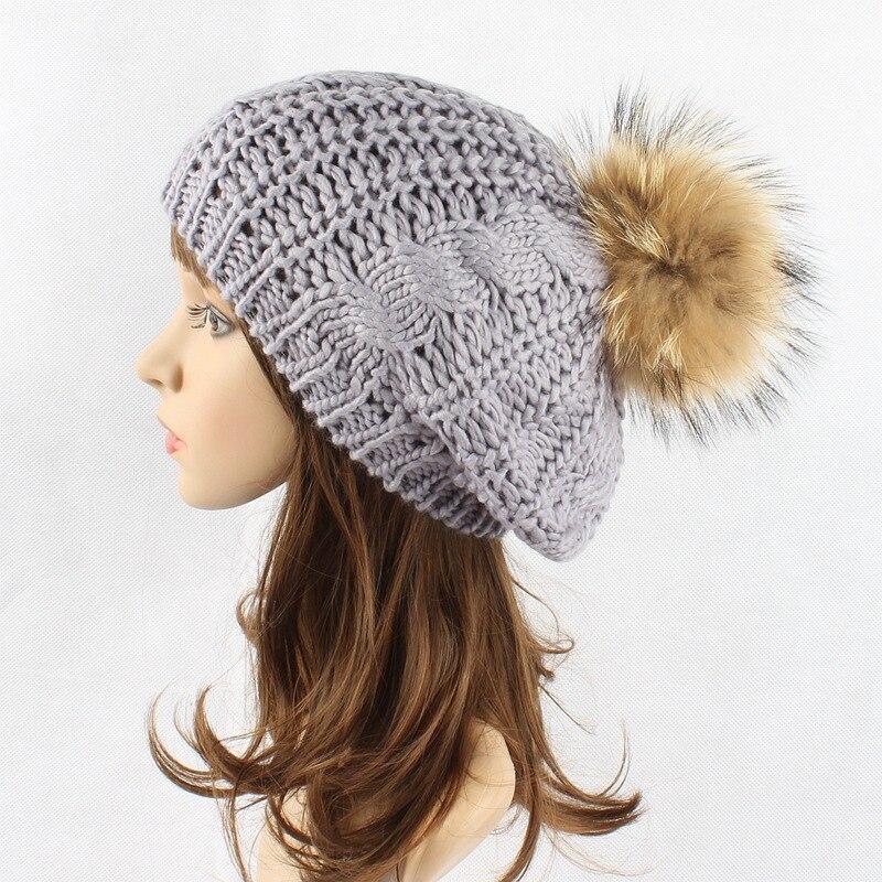 Women Fur Beret Hat Female Winter Knitted Wool Beret Natural Raccoon Fox Fur Pompom Hat Solid