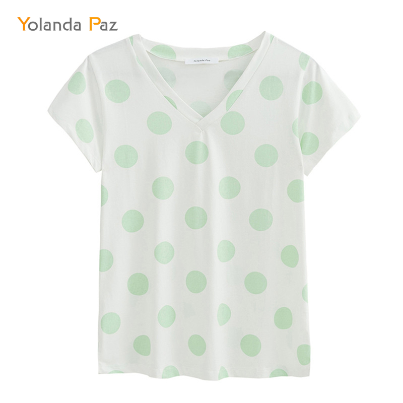 Yolanda Paz Fashion Polka Dot Print Women Summer T Shirts High Quality V Neck Short Sleeve