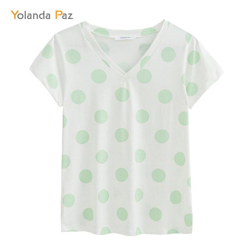 Yolanda Paz Módní Polka Dot tisková dámská letní trička - Dámské oblečení