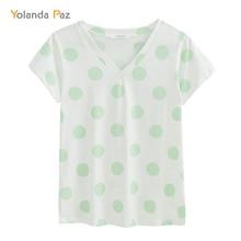 Yolanda Paz Fashion Polka Dot print women summer t-shirts high quality V-neck short sleeve brand ladies t shirt casual tops tees