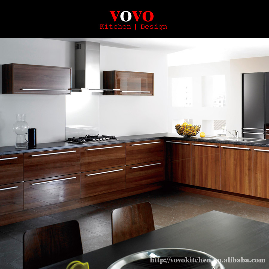 Kitchen cabinet doors gloss - High Gloss Wood Grain Uv Kitchen Cabinet With Soft Closing Door And Drawer