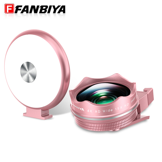 FANBIYA 3in 1 Phone Camera Lens LED Selfie Flash Light 4K Wide Angle 15x Macro Lenses Universal Mobile phone Photograpy Lens