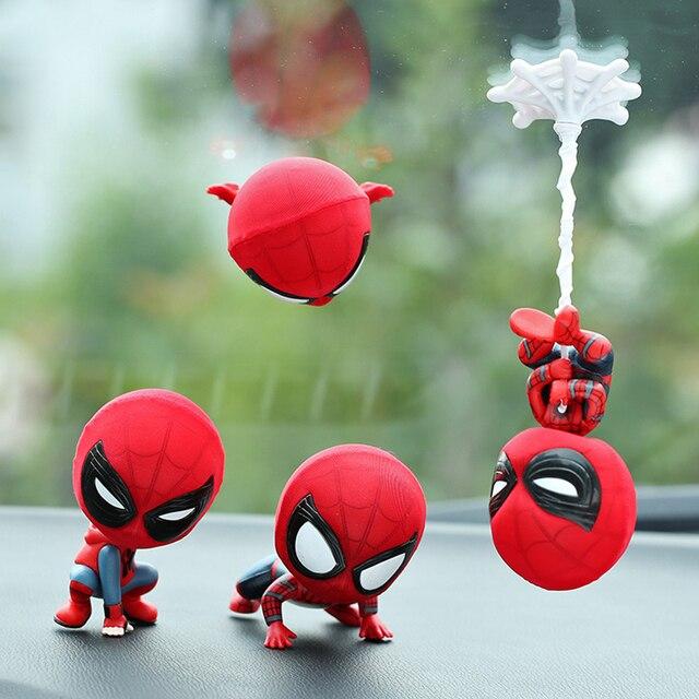 NEW hot Avengers Spiderman Super hero Spider-Man Carro Ornamentos Q Edição Boneca balançando a cabeça brinquedo decoração do carro de presente com caixa