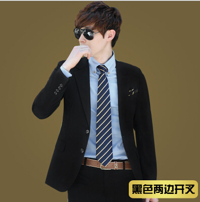 High Quality Mens Two Ons Vented Slim Formal Business Black Suit Men Office Prom Party