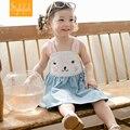 2016 New Female Baby Cute Dress Children Summer Cotton Rabbit Pattern Sling Vest Princess Dress Hot Sale