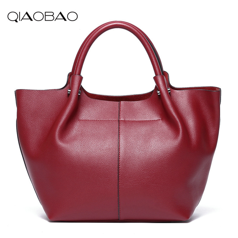 QIAOBAO Designer Genuine Leather Bags Ladies Famous Brand Women Handbags High Quality Tote Bag for Women Fashion Hobos Bolsos