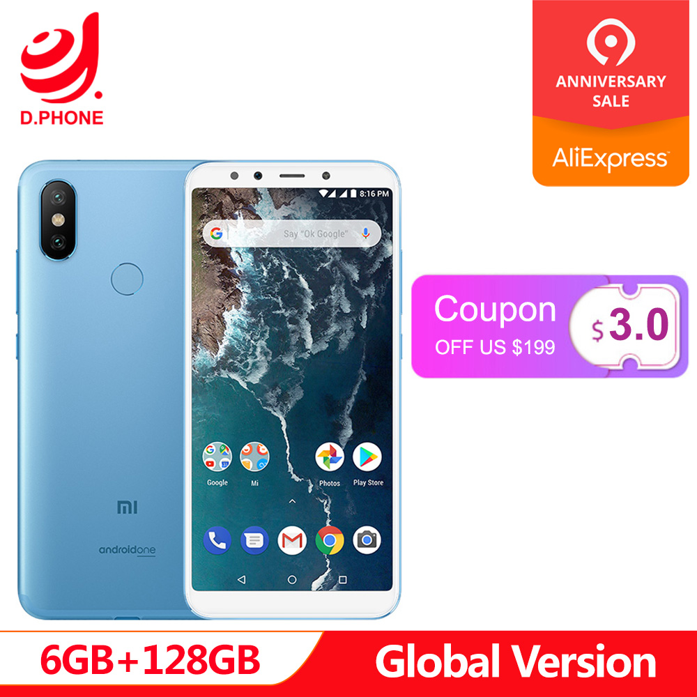 Orig Version mondiale Xiao mi A2 6 GB 128 GB Android One 5.99 ''plein écran Snapdragon 660 20 + 12 MP AI double caméra mi A 2 téléphone portable