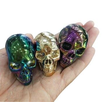 Calavera de Cristal Natural Aura, cuarzo, Calavera, anillo de Ángel, artículos de decoración de piedra, colores galvanizados