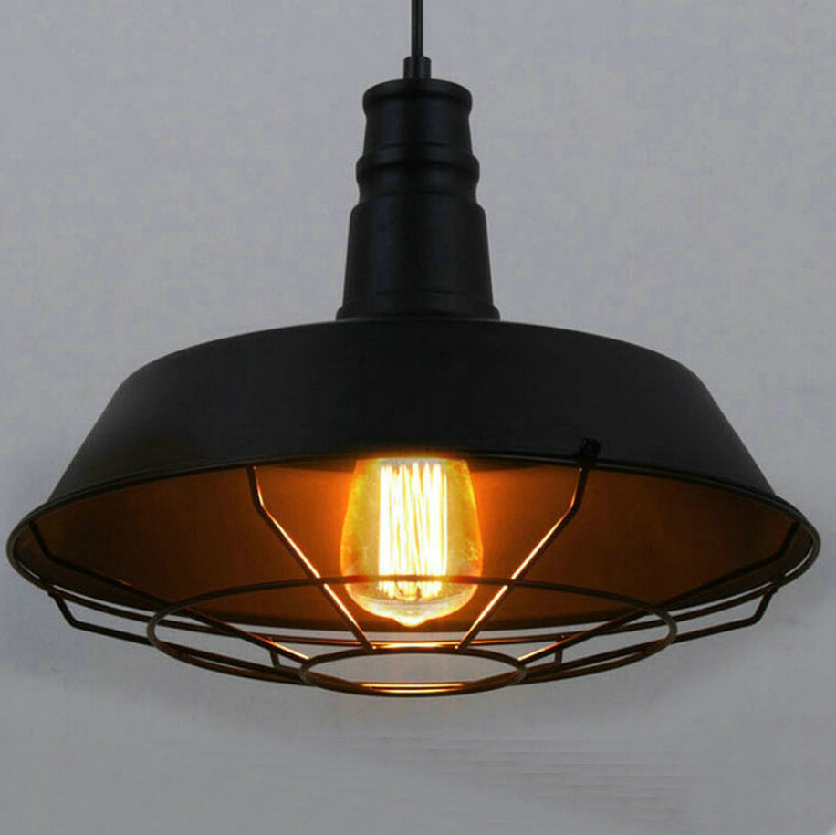 loft style d 26 36 46cm vintage industrial pendant lighting led lamp metal hanging circle fixture dining room bar restaurant