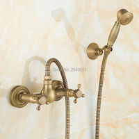 Classic Retro Style Antique Bronze Shower Faucet Fashion Bathroom Shower Set Wall Mounted Double Handle Hand Shower ZR004