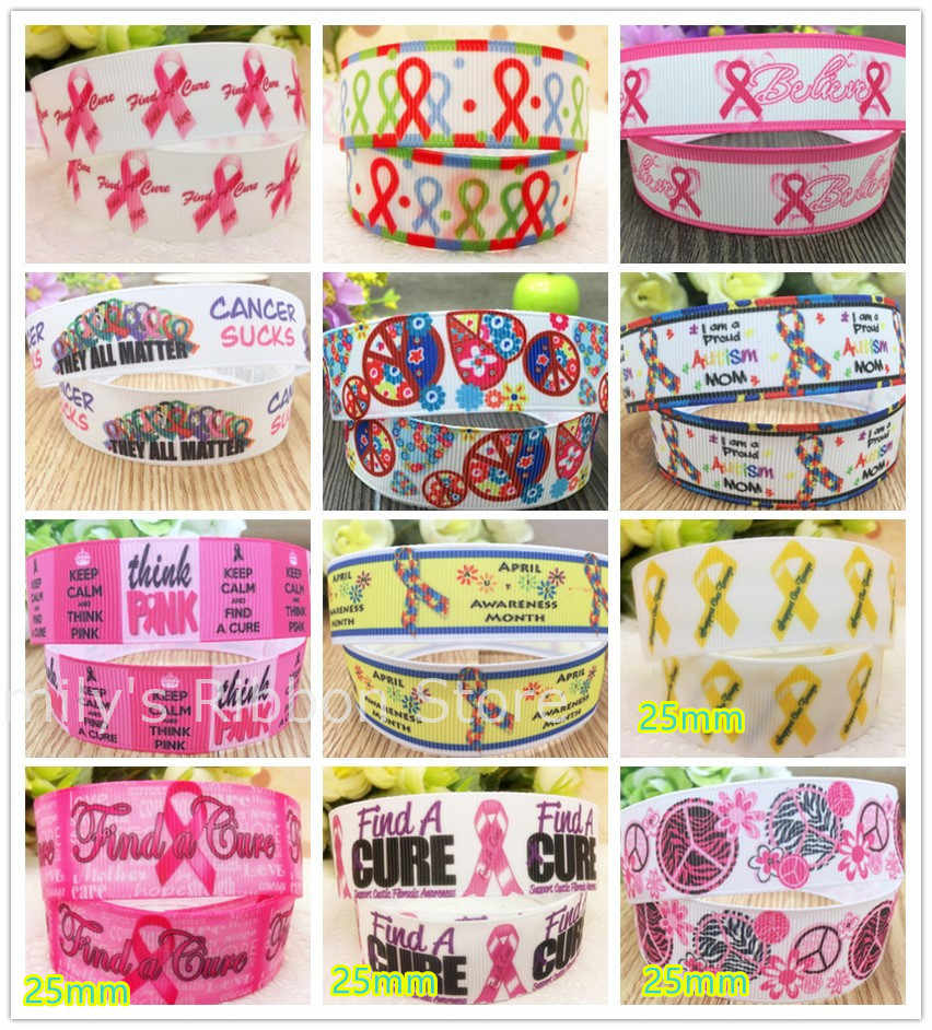 Free shipping 7/8'' 22mm 1''25mm width pink ribbon cancer peace printed grosgrain ribbon Bow Material Gift Wrap tape10 yards