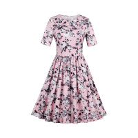 Sisjuly 1950s 60s Vintage Dresse Spring Women Pink Flower Print Dress 2017 O Neck Collar Knee