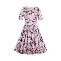 Sisjuly 1950s 60s Vintage Dresse Spring Women Pink Flower Print Dress 2017 O Neck Collar Knee