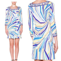 2017 women's new fashion beautiful geometric striped elastic silk jersey slim dress