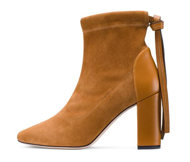 High quality!Woman pointed toe high heel ankle boots Spring and autumn chunky heel short boots Fashion boots Dress shoes цена