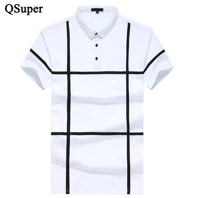 2017 New Design Men Polo Shirts White Black Patchwork Summer Short Sleeve Turn Down Collar Casual Slim Fit Cotton Brand Shirt
