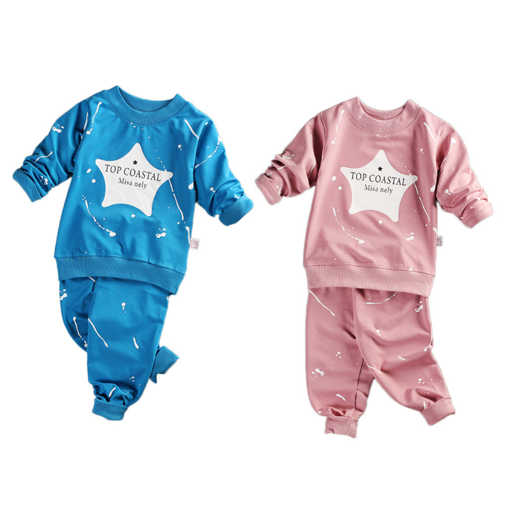 New 2PCS Babys Long-sleeved Sweats Set Toddler Sweater Children Sweatsuit Outfits of Star Style for Boys and Girls Kids