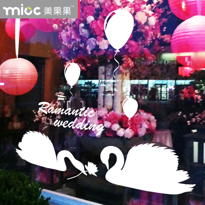 Free shipping Swan Design Bridal Shop Glass stickers romantic aesthetic window stickers wedding wall decorations wall decal