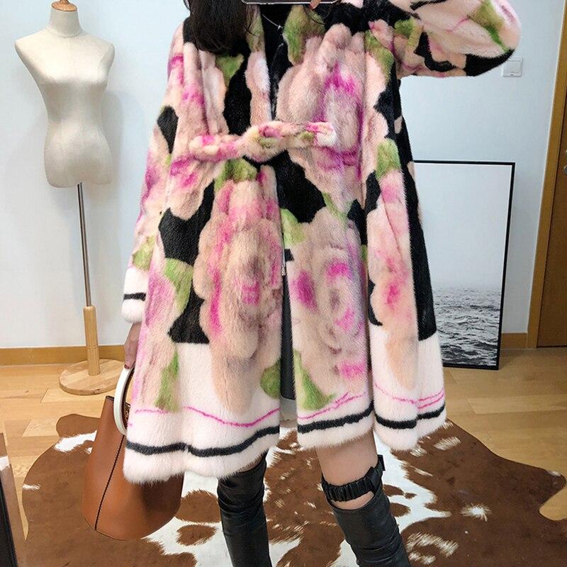 Imprimer Manteaux Vison Moyen Lvchi Coloré cou À Longues Plaque De Chinois Boucle Winter2017 Manches Fleur V Fourrure Réel Manteau Femmes Multi thrxQdCsB