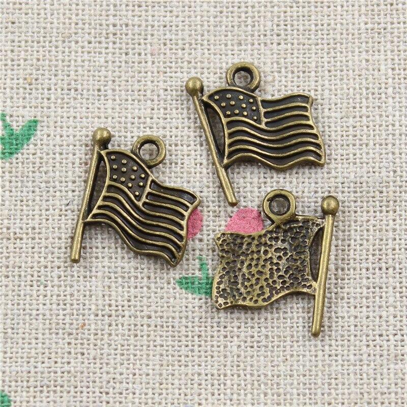 Flag Charms Keychain Necklace Metal Pendants Zinc-Alloy Bronze-Color Antique 30pcs