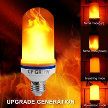 CF Grow 1&4 Modes E26 E27 LED Flame Effect Fire Light Bulb SMD2835 Flickering Flame Lamp 6W 1200K~1400K AC85V~265V lamps