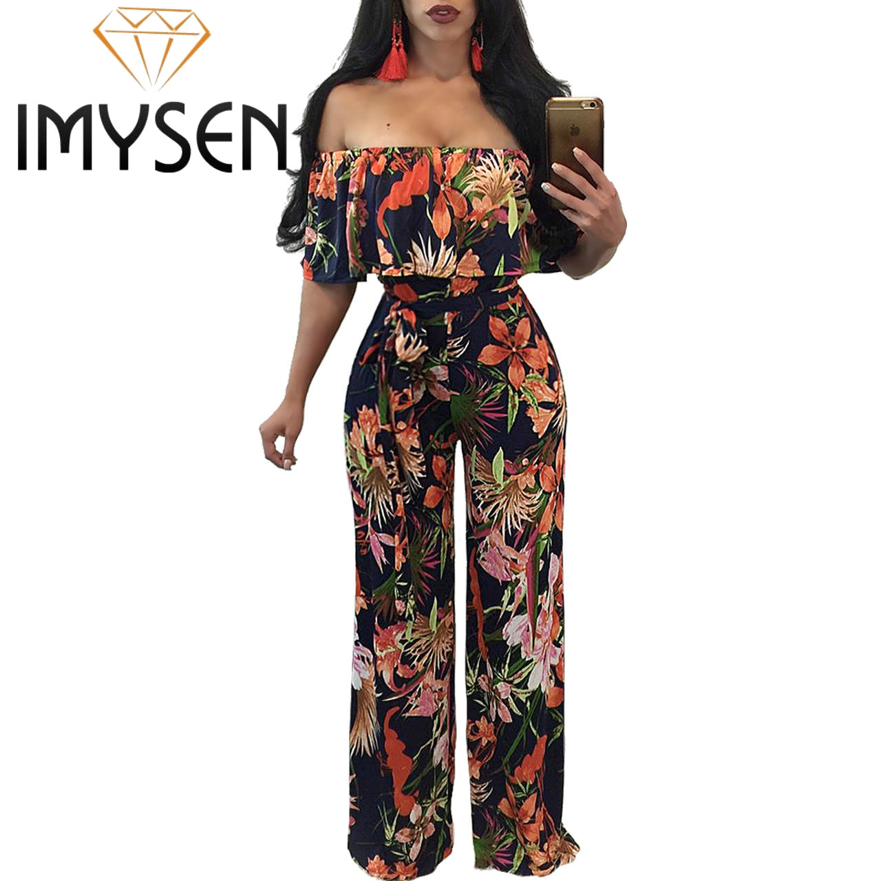 IMYSEN Summer Autumn Printed Sexy Jumpsuit Women Romper Straight Collar Off Shoulder One Piece Jumpsuits One
