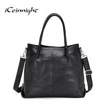 Iceinnight 100% genuíno couro de vaca mulheres saco do vintage preto vendido bolsa de ombro para as mulheres de luxo grande tote com longa 120 cm cinto
