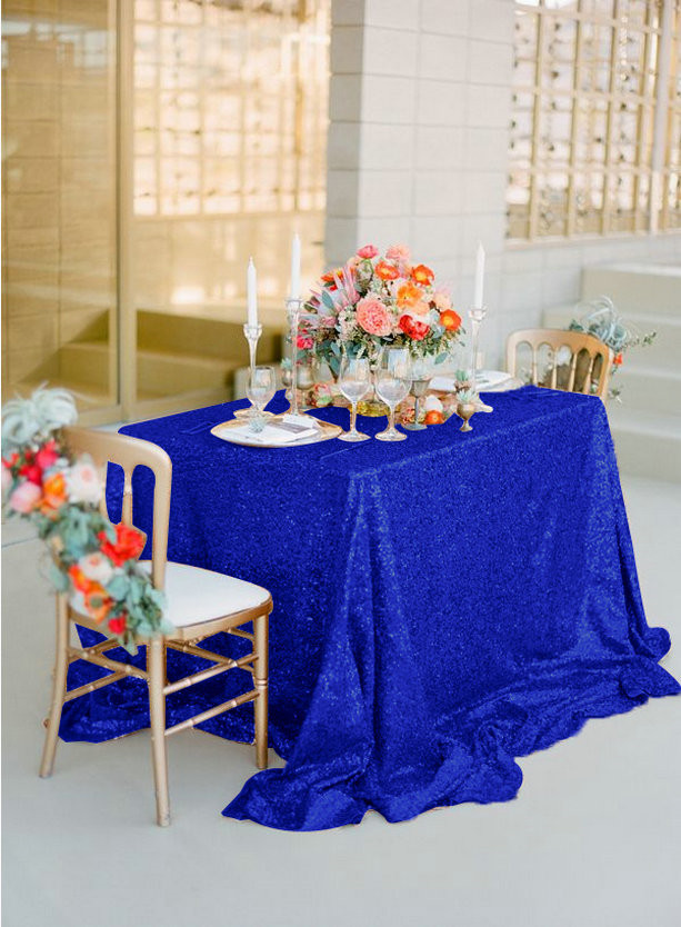 72x72 Sequin Tablecloth Royal Blue Wedding Table Royal Blue Glitter Tablecloth/Overlays For Christmas Wedding/Party/Decor-a