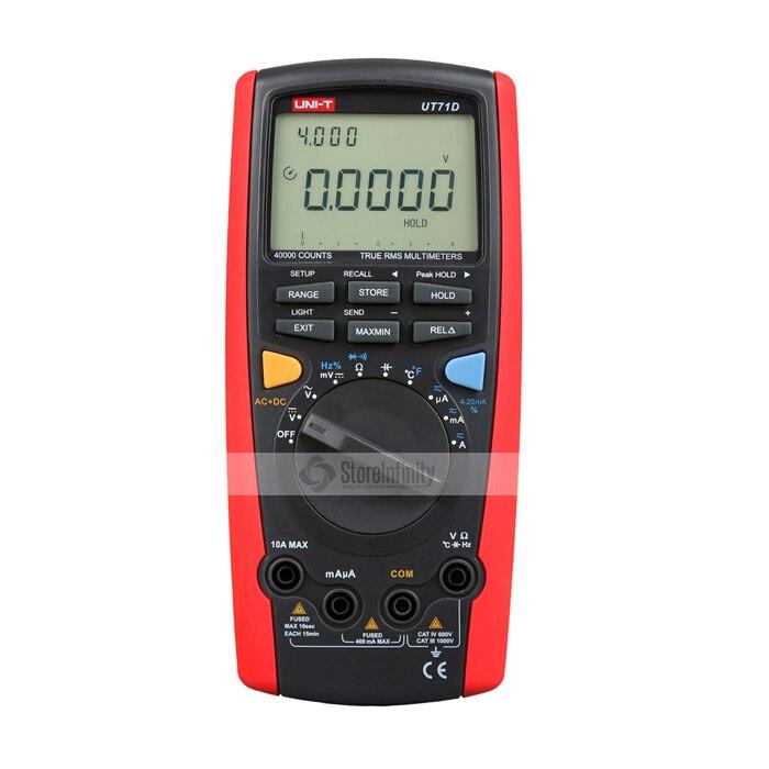 UNI-T UT71D 100 kHz TRMS multimètre USB Kabel Tasche gamme automatique