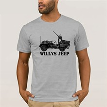Willys Jeep WWII T Shirt US Army 50 cal machine gun cmp asl fow