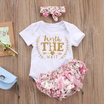 3PCS/Set Cute Newborn Baby Girl Clothes 2017 Worth The Wait Baby Bodysuit Romper+Ruffles Tutu Skirted Shorts Headband Outfits  1