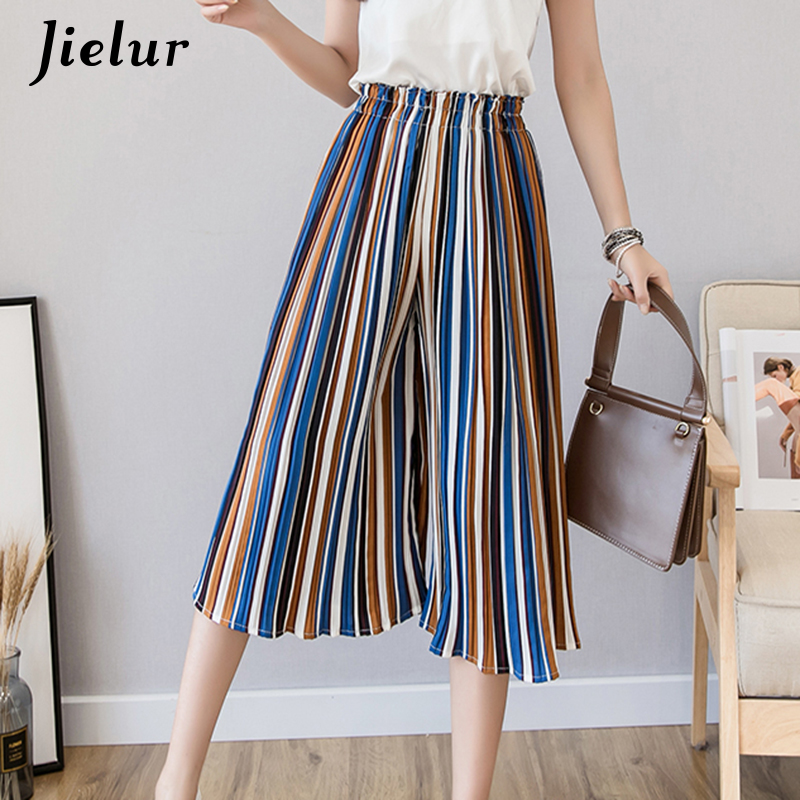 Jielur Fashion Pleated Chiffon   Pants   Female Summer Polka Dots Floral Striped   Wide     Leg     Pants   Women S-XL Loose Lady Pantalon Femme