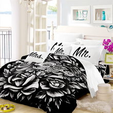 3D Rose Bedding Set Couples Sugar Skull Duvet Cover Letter Mr Mrs Print Pillowcase Valentines Day Gift Home Decor 3Pcs D45