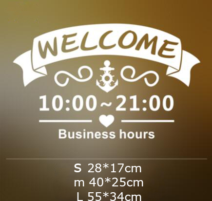 cute door glass window welcome sticker custom business time open close working hours sticker. Black Bedroom Furniture Sets. Home Design Ideas