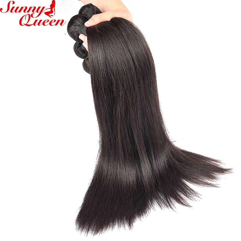 Sunny Queen Straight Brazilian Hair Weave Bundles 10″-26″ Nature Color Remy Human Hair Extensions
