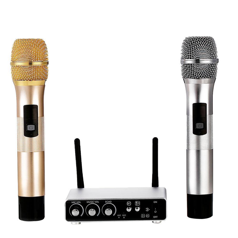 Handheld Karaoke UHF Band Wireless Bluetooth 4.1 Dual Microphones + Receiver Box Good qualityHandheld Karaoke UHF Band Wireless Bluetooth 4.1 Dual Microphones + Receiver Box Good quality