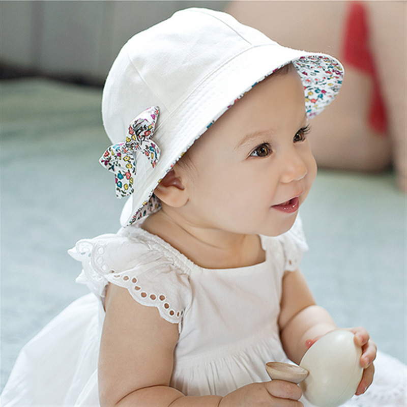 Baby Girls Hat Summer Flower Print Cotton Floral Sun Bucket Double Sided Bonnet