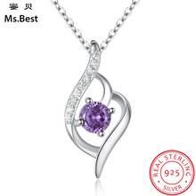 Fine Sterling Silver 925 Pendant Necklace for Women Amethyst February Birthstone Party gift for girls brand fine Jewelry Factory