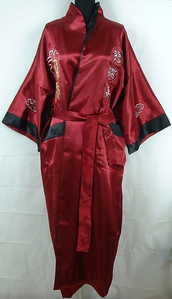 Burgundy Black Reversible Chinese Women's Satin Two-face Robe  pijamas Embroidery Kimono Bath Gown Dragon One Size S3003&